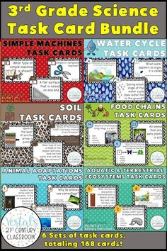 3rd Grade Science Task Cards are a great science review activity throughout the school year. More than 168 science task cards are included! #vestals21stcenturyclassroom #5thgradescience #5thgradesciencetaskcards #simplemachinestaskcards #watercycletaskcards #soiltaskcards #foodchainstaskcards #animaladaptationstaskcards #ecosystemstaskcards