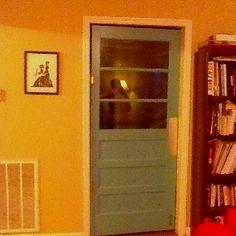 Old door made into a double swinging door! Laundry Room Bathroom, Laundry Rooms, Bathrooms, Swinging Doors, Room Doors, Door Ideas, Bathroom Inspiration, Mudroom, Tall Cabinet Storage