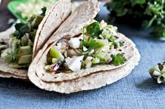 Grilled Coconut Lime Tilapia Tacos with Kiwi Salsa.