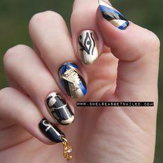 Close up of yesterday's Nefertiti Egyptian nails
