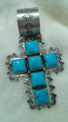 Rocki Gorman Vintage Sleeping Beauty 6 Stone Turquoise Cross Sterling Silver