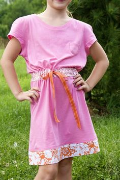 Tutorial:  Summer dress from 2 tee shirts + a scrap of fabric & ribbon for tie at waist
