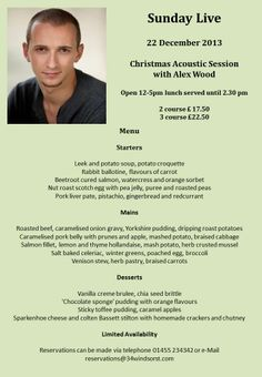 Alex Wood - Sunday Lunch in Burbage with live music