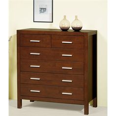 walnut dresser with silver hardware