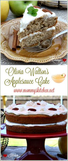 """Olivia Walton's Applesauce Cake with Whisky Frosting from Mommy's Kitchen. This cake is the one Olivia Walton made in the movie """"The Homecoming"""", which was the basis for the TV series """"The Walton's"""" and mentioned in several of the Television episodes. Olivia despised """"the Recipe"""" from the Baldwin sisters (bootleg whiskey), but she made an exception and used a bit of it in the frosting for her applesauce and raspberry cake.    #applesaucecake #applesauce #cake #thewaltons #mommyskitchen"""
