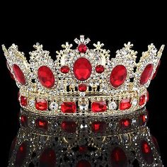Red Baroque Vintage Bridal Wedding Rhinestone Crown Tiara Headbands Jewelry  Prom 367dc11a728e