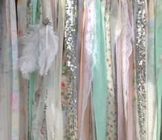 Boho Backdrop Tribal Curtains Aztec Southwestern Party Décor with feather tassel Peach Mint Gray Peach Coral by ChangesByNeci