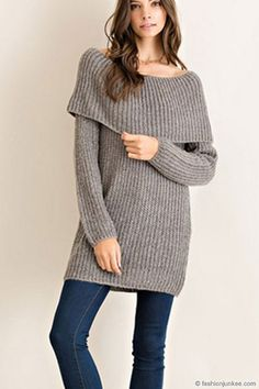 Chunky Thick Foldover Off the Shoulder Knit Sweater Top-Black ...