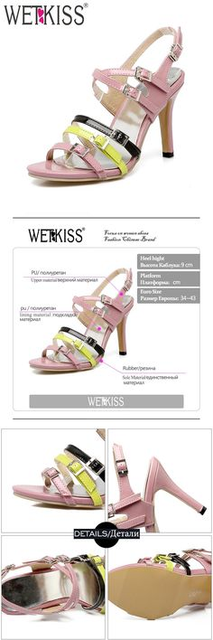 [Visit to Buy] WETKISS 2017 Big Size 34-43 Fashion Women Sandals Gladiator Buckle Strap Summer Shoes High Heeled Colored Open toe Sandals #Advertisement