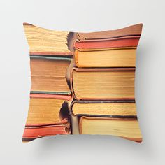 Pillow Cover Decorative Book Pillow Orange Pillow Books Library Pillow Decoration 16 x 16
