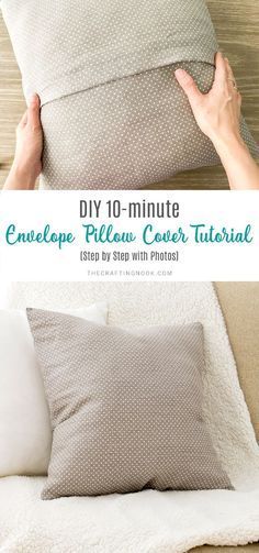The easiest and quickest way ever to make an envelope pillow cover in just a few minutes minutes! Learn how to sew an envelope pillow cover using one piece of fabric. covers ideas DIY Envelope Pillow Cover Tutorial (Step by Step with Photos) Diy Pillow Covers, Decorative Pillow Covers, Homemade Pillow Covers, Cushion Covers, Sewing Pillows Decorative, Sewing Pillow Cases, Cushion Cover Pattern, Handmade Pillows, Diy Pillows