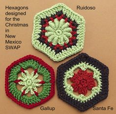 FREE PATTERNS - These hexagons were designed for the Christmas in New Mexico SWAP in the Vanna's Choice Fan Club group, but were never published. The VCFC started another hexagon SWAP with African Violet colors, so I was persuaded to bring them out of hibernation. ~Enjoy!
