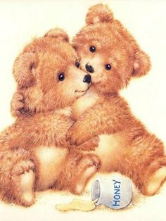 Honey Bears is one of my favorite Teddy Bear image. My hubby bought me a card with them on it and I made them into a refrig. magnet.
