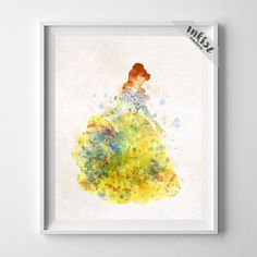 Belle, Beauty and the Beast Disney Watercolor Art Print. Prices from $9.95. Available at www.InkistPrints.com - #disney #inkistprints #watercolor #wallart #poster #print #christmasgift #nurseryart #babyart #valentinesdaygift #painting #dormart #giftidea #disneyart #disneygift #babyshowergift #giftforher #homedecor #Belle #BeautyandtheBeast