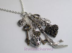 Vintage bird and keys necklace