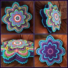 Beautiful colorful #crochet cushion by @caswelljones
