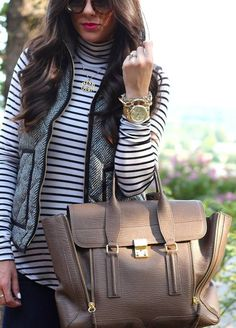 Fall Basics With H  #striped #heart #denim #lace #leather #turtleneck #tie #back #bag #love #lip #gold #silver #monogram #jacket #coat