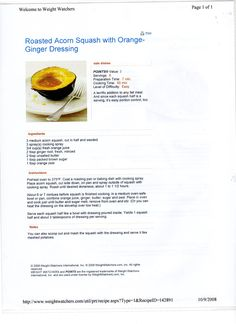 WW Roasted Acorn Squash w-Orange-Ginger Dressing
