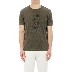 "John Varvatos Star U.S.A. ""This Ain't No Disco"" T-Shirt ($29) ❤ liked on Polyvore featuring men's fashion, men's clothing, men's shirts, men's t-shirts, green, mens green shirt, mens crew neck t shirts, mens skull t shirts, j crew mens shirts and mens skull shirts"