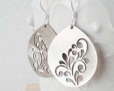 Metalwork flower earrings