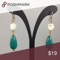 Handmade, Turquoise & Mother of Pearl Earrings Handmade, Genuine Turquoise tear drop & Genuine Carved Mother of Pearl Earrings. Brand new, never worn. Hypoallergenic ear wires. Jewelry Earrings