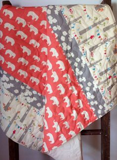 Baby Quilt, Modern, Organic, Woodland Party, Elephant, Mod Basics, Ellie Family, Coral, Gray, Cream, Poppies, Baby Bedding, Crib Bedding