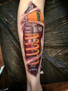 Nice tat 3d Leg Tattoos, Biker Tattoos, Tattoos For Guys, Piercing Tattoo, I Tattoo, Shock Tattoo, Geometric Henna, Optical Illusion Tattoo, Mechanic Tattoo