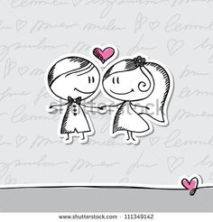 hand drawn wedding couple on gray background