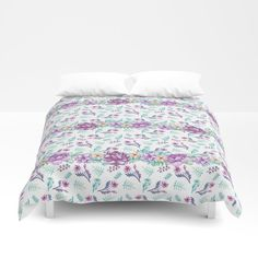 Purple peonies elegant watercolor Duvet Cover by augustinet | Society6 Purple Peonies, Foot Of Bed, Soft Duvet Covers, Duvet Insert, Comforters, Two By Two, Watercolor, Blanket, Pillows