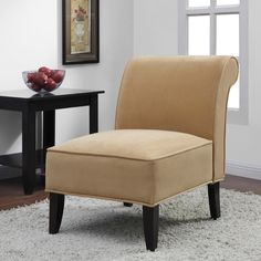 Sadie' Honey Upholstery Slipper Chair - Overstock™ Shopping - Great Deals on Living Room Chairs