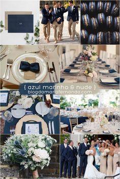Decoração de Casamento Paleta de Cores Azul Marinho e Nude | Blog de Casamento DIY da Maria Fernanda