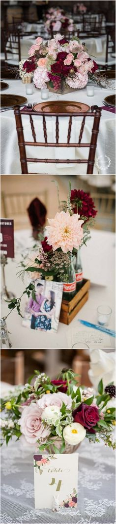 Burgundy and blush wedding centerpiece ideas