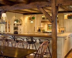 OMG.....This could not be more of what I dream of. Love the rustic feel, along with the white cabinets. And so much seating room! In love with this room!!French Country Dining Room Design, Pictures, Remodel, Decor and Ideas - page 540