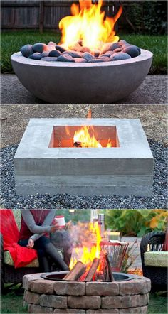 When we Are talking about the house decoration, we cannot overlook talking about the Cheap Backyard Fire Pit Ideas. Backyard -- the outside side of the house Outside Fire Pits, Cool Fire Pits, Diy Fire Pit, Tabletop Fire Bowl, Fire Pit Table, Concrete Fire Pits, Wood Burning Fire Pit, Diy Concrete, Garden Fire Pit