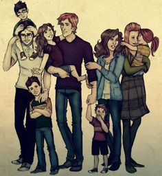 Família Potter e Weasley! — com Alvo Severo, Harry Potter, Tiago Sirius, Rose Weasley, Rony Weasley, Hugo Weasley, Hermione, Gina Weasley e Lílian Luna.