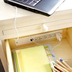 kitchen drawer charging station | Charging station built into a drawer. | kitchen remodel