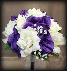 Soft silk flower Wedding Bouquet Purple Ivory Rose,baby breath Silver rhinestone   eBay