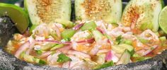 Northgate Markets > Our Stores > Recipes > Recipe Details 4 lbs of shrimp peeled, 2 red onions, Salt, 30 lemons, Pepper, Chile tree powder, Worcestershire sauce, 4 cucumbers, 6 green serrano chiles, cooked, 2 cloves of garlic