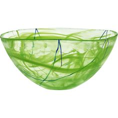 Designed by Anna Ehrner for Kosta Boda, the Contrast Bowl features a simple shape and dramatic style. Its free-flowing swirls of color are paired with hand-applied contrasting calligraphic lines making each bowl a unique work of art. Vases, Utensil Trays, Green Bowl, Kosta Boda, Art Of Glass, Large Crystals, Simple Shapes, Glass Design, Colored Glass