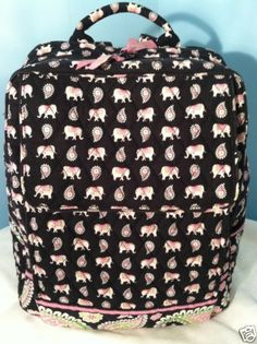VERA BRADLEY PINK ELEPHANT LARGE BACKPACK - LAPTOP - CAMPUS - DIAPER BAG - RARE