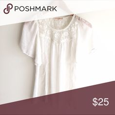 Altar'd State White Lace Short Sleeve Blouse Semi sheer, white embroidered and lace loose fit blouse with flutter sleeves. EUC Altar'd State Tops Blouses