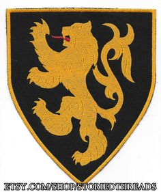 Large Lion Rampant Heraldry Patch by StoriedThreads on Etsy