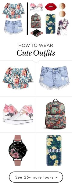 """""""Floral Outfit 2.0"""" by rosegirlxox on Polyvore featuring Elizabeth and James, Glamorous, Converse, Vera Bradley, Olivia Burton, Lime Crime, Linda Farrow and Casetify"""