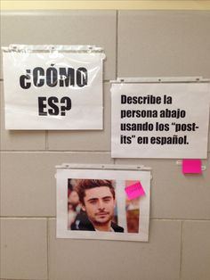 My student teacher did this for our Spanish adjectives unit. He left the post-its mounted to the wall for the students to write adjectives on. They should describe the person in the photo.