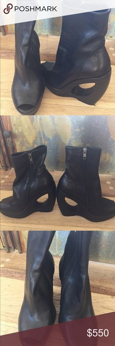 Ann Demuelemeester high wedge awesome boots Gorgeous fun boots. Class and fun !  Rare  never worn Ann Demeulemeester Shoes Ankle Boots & Booties