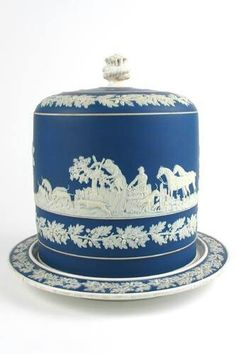 An English Jasperware cake stand of cobalt blue porcelain in the manner of Wedgewood for a seven layer cake. Blue And White China, Blue China, 7 Layer Cakes, Cake Carrier, Cheese Dome, Cake Plates, Wedgwood, Vase, China Porcelain