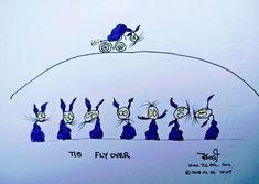 "Tis ""FlyOver"" cat cartoons purple Ink Watercolor paper #Motor #Bike #Stuntman #Cartoon"