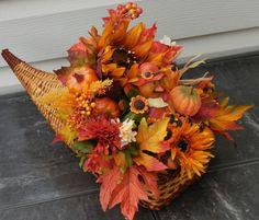 Thanksgiving decor, fall arrangement, cornucopia arrangement, tabletop decor, harvest decor, turkey decor by AJewelOfACraft on Etsy