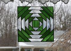 Suncatcher Stained Glass Pineapple Quilt Block by GailsGlassGarden, $42.00