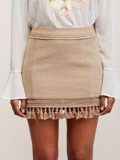 Tan skirt, white blouse, classy spring summer style, dressy summer style